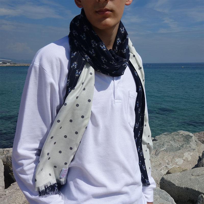 Bufanda hombre azul marino moda sostenible lool by lyly