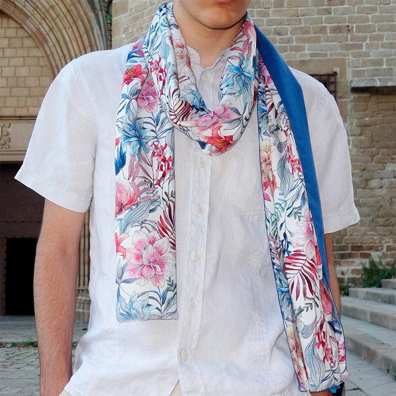 Fular hombre azul estampado moda sostenible Look by LyLy