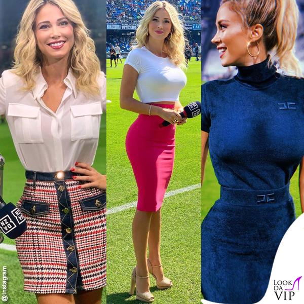 Diletta Leotta con tre diversi outfit Elisabetta Franchi