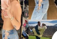 Chiara Ferragni in topless e jeans EB Denim