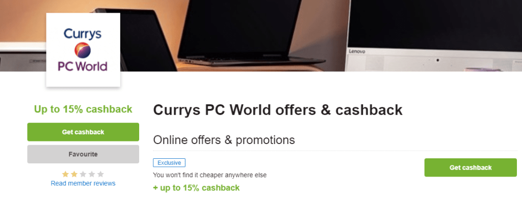 quidco retailer page with cashback button