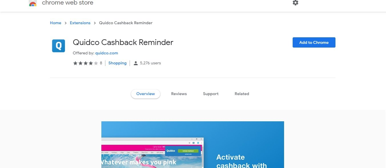 quidco cashback reminder chrome extension install screen