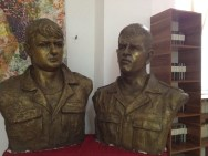 A bust of local war heroes.