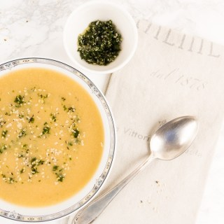 Cream of Cauliflower Soup with Parsley Hemp Seed Pesto