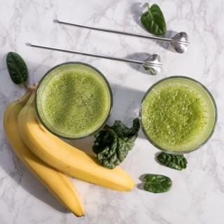Sweet and Light Green Smoothie with Banana, Spinach, and Celery