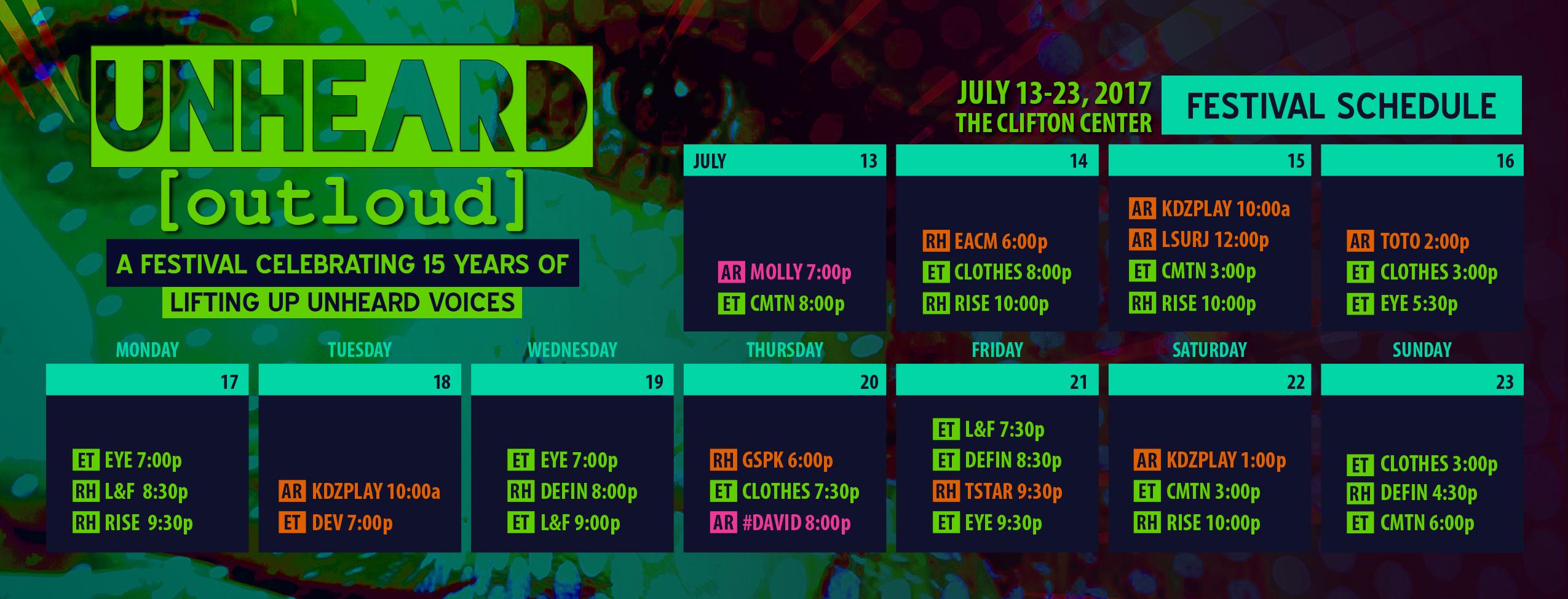 UNHEARD [outloud] Schedule