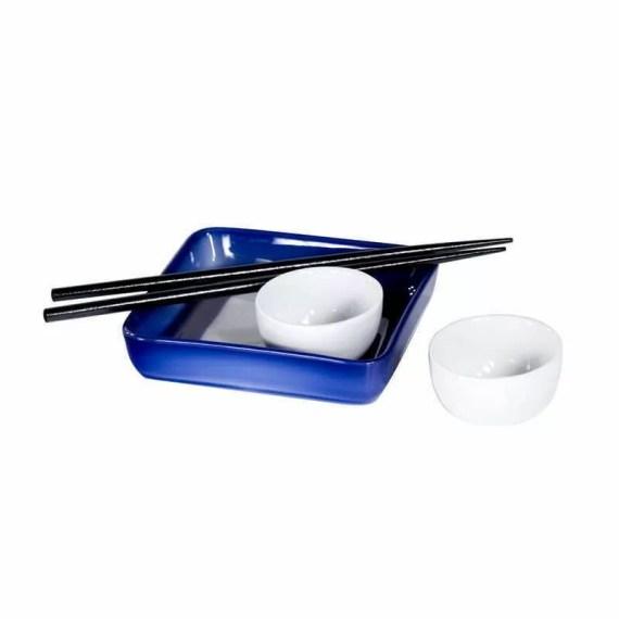 Kobaltowy zestaw do sushi ćmielów