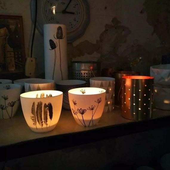 LAMPIONY na TEALIGHT z cienkiej porcelany