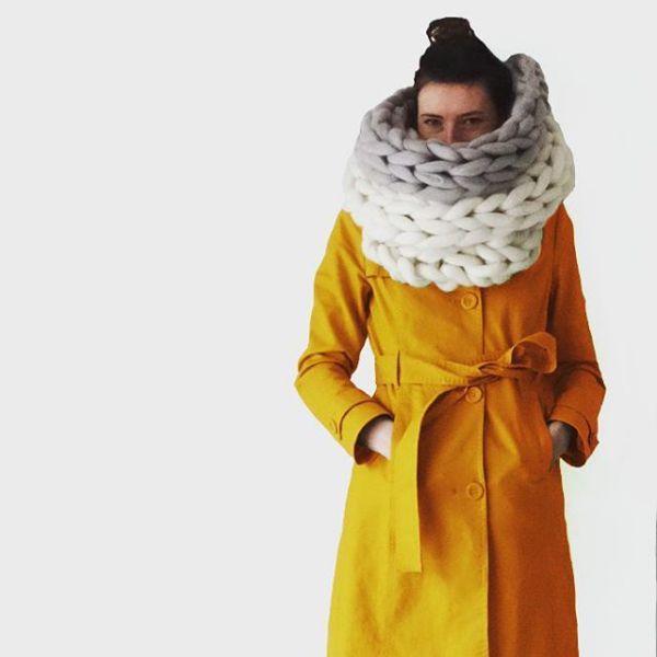 шарфы очень крупной вязки на шею фото