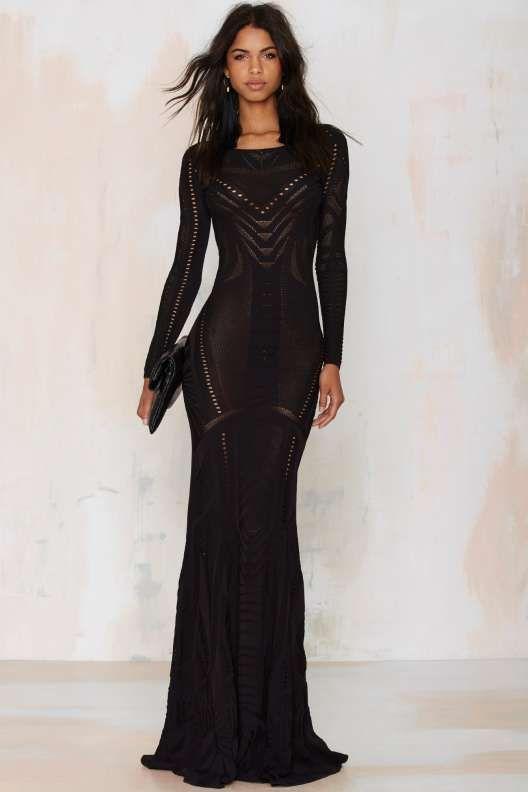 черное длинное платье футляр с рукавами