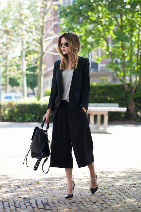с какой обувью носить женские кюлоты с пиджаком