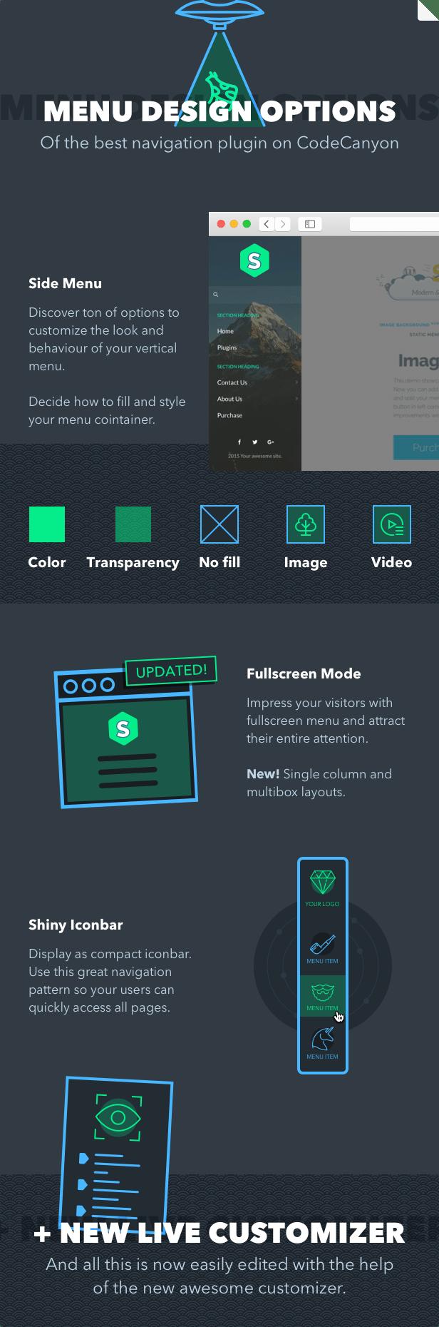 Superfly WordPress menu plugin design types