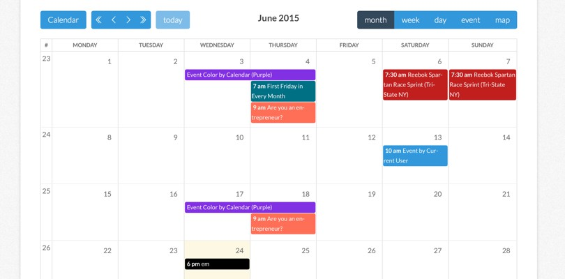 Calendarize it WordPress Plugin example