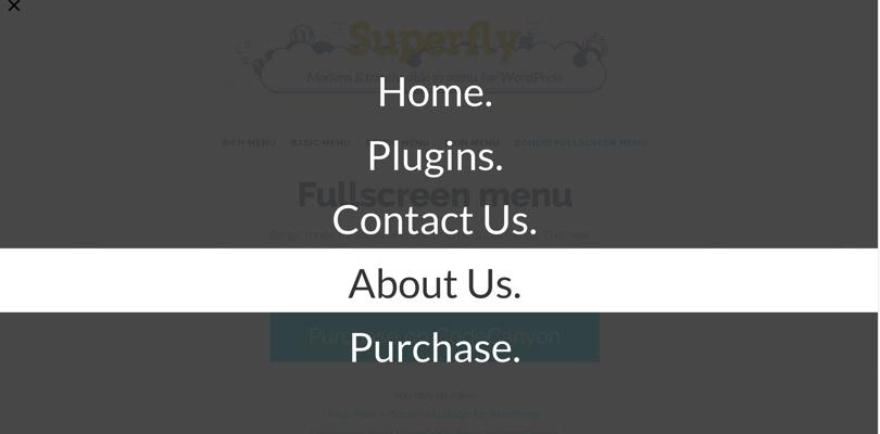 Superfly menu WordPress plugin Full Screen