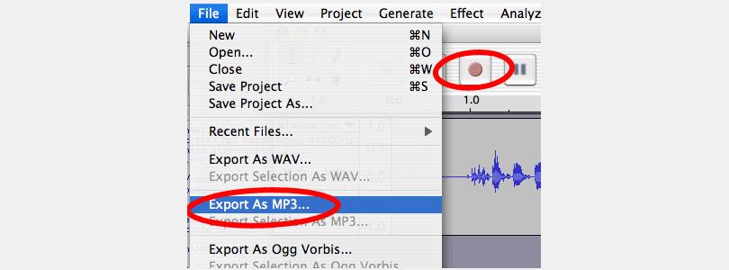 Audacity export mp3 example