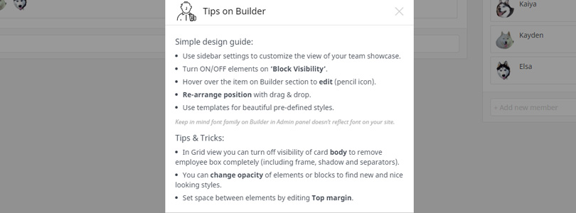 Team Builder Tips