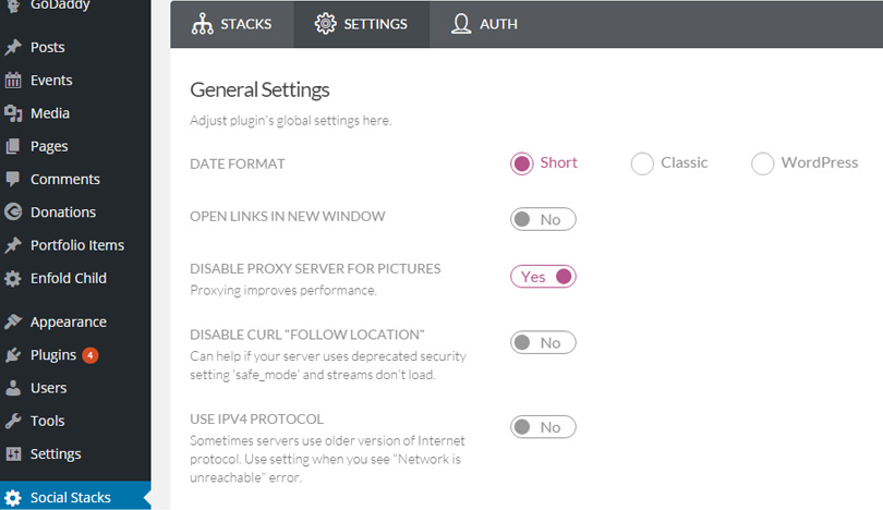 Social Stacks settings panel