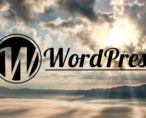 WordPress Logo over Landscape