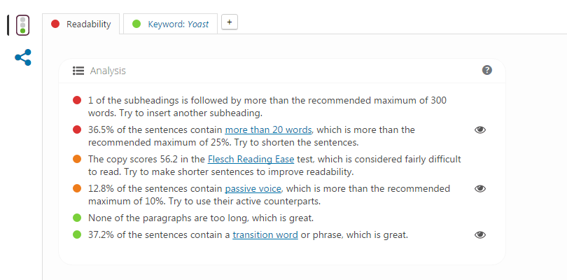 Yoast SEO Readability Maintenance