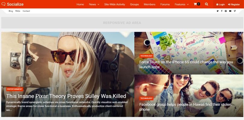 Socialize WordPress Theme