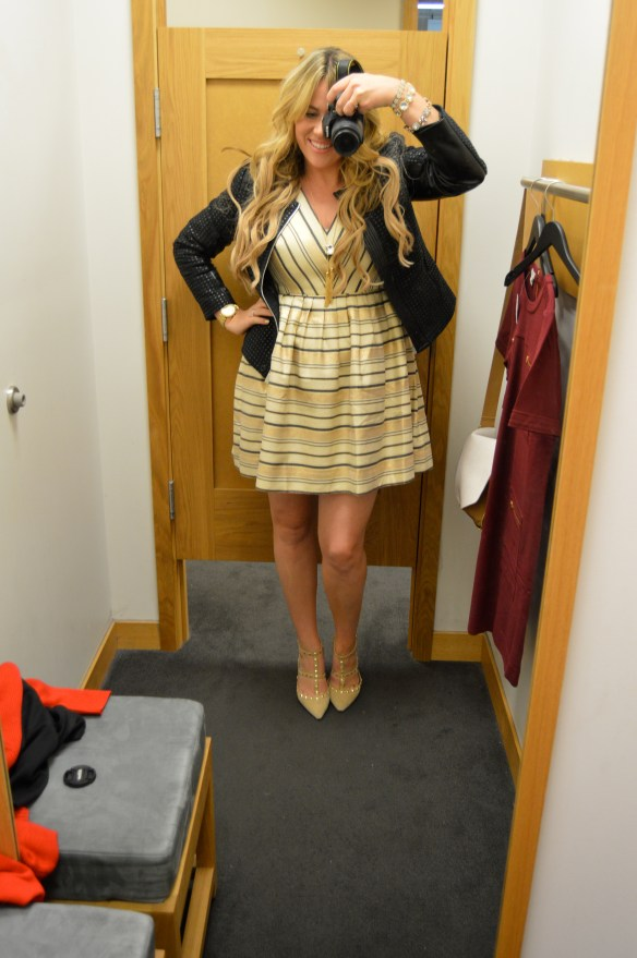 This striped JCrew dress for holidays is perfect!
