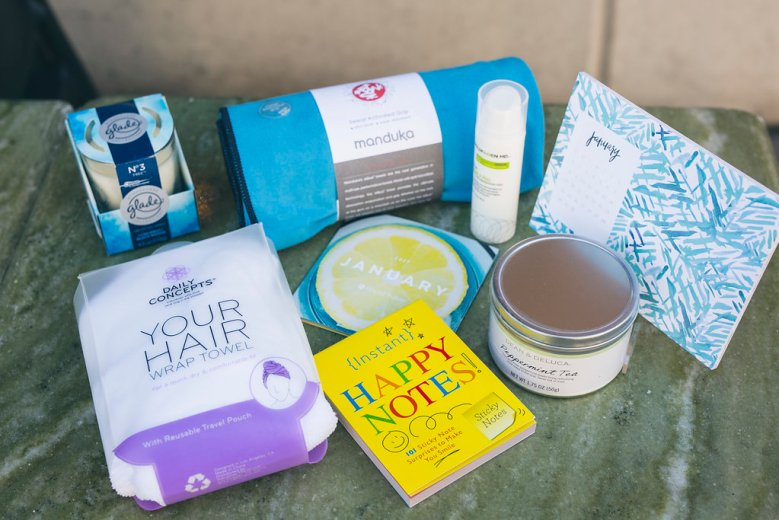 Pop Sugar January 2017 Must Have Box, pop sugar must have, pop sugar must have box, ootd, subscription box, monthly subscription, equa yoga towel, goldfaden MD fresh a peel