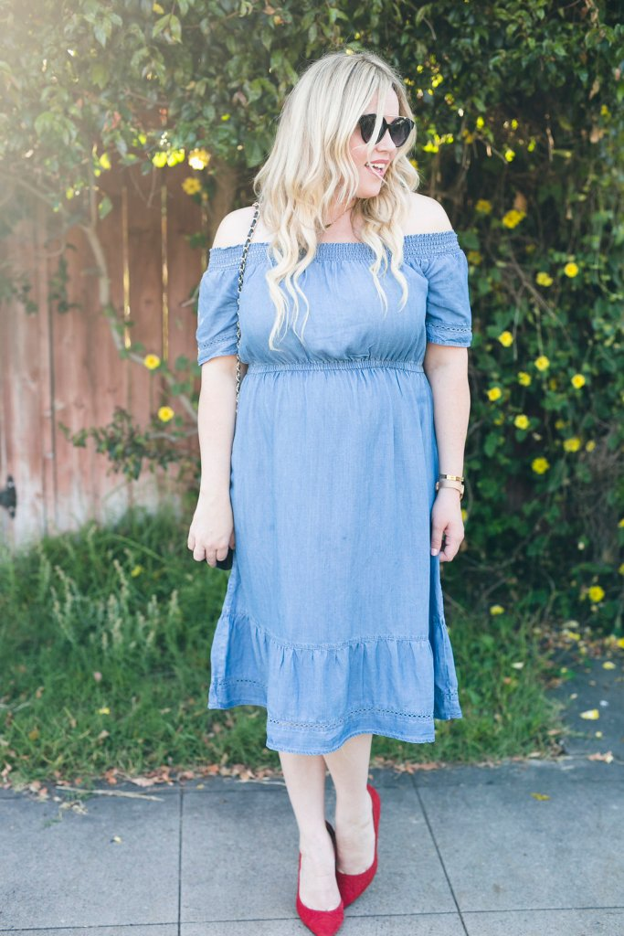 Denim off Shoulder Dress, denim dress, off the shoulder dress, OTS dress, old navy, denim dress, spring dress, summer dress, ootd, spring style, spring fashion