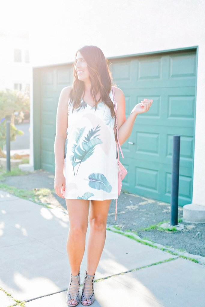 Palm Print Dress xx Laced Sandals, palm print, palm print dress, palm ootd, sheinside, fashion blogger, bestie shoot, style blogger, san diego blogger