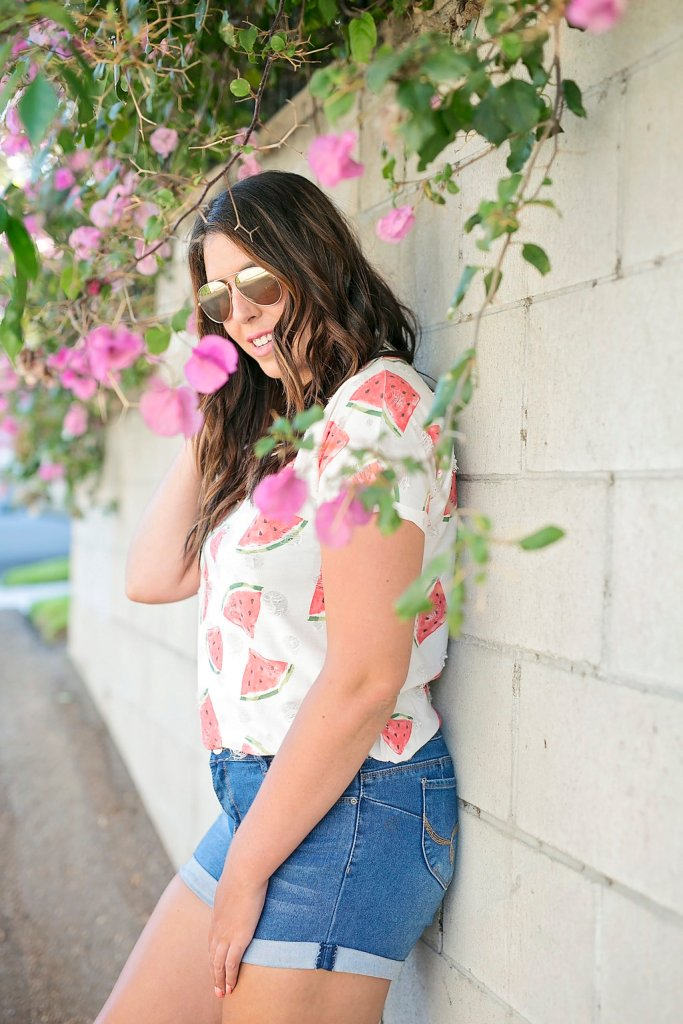 Watermelon Tee and Pom Pom Sandals, watermelon tee, summer style, style blogger, summer ootd, fashion blogger, style blogger, holiday fashion, vacation style