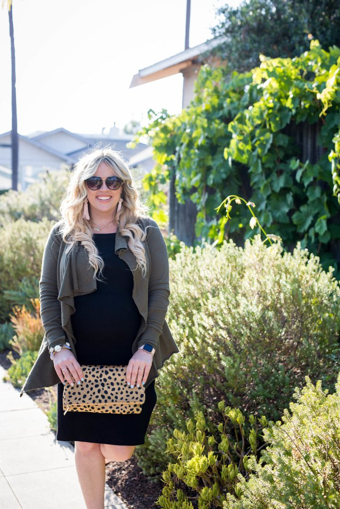 Kristina Miltary Jacket xx Evy's Tree, eve's tree, waterfall jacket, military inspired jacket, little black dress, LBD, preggo blogger, maternity blogger, san diego blogger