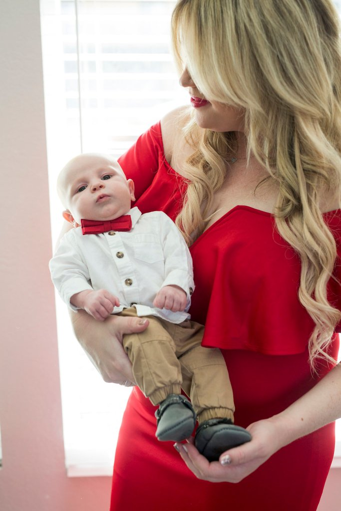 Jax's First Christmas Ornament + Holiday Red Dress, first christmas, babes first christmas, red dress, holiday dress, holiday ootd, mommy red dress, mom red dress, christmas dress, christmas ornament, christmas tree ornament