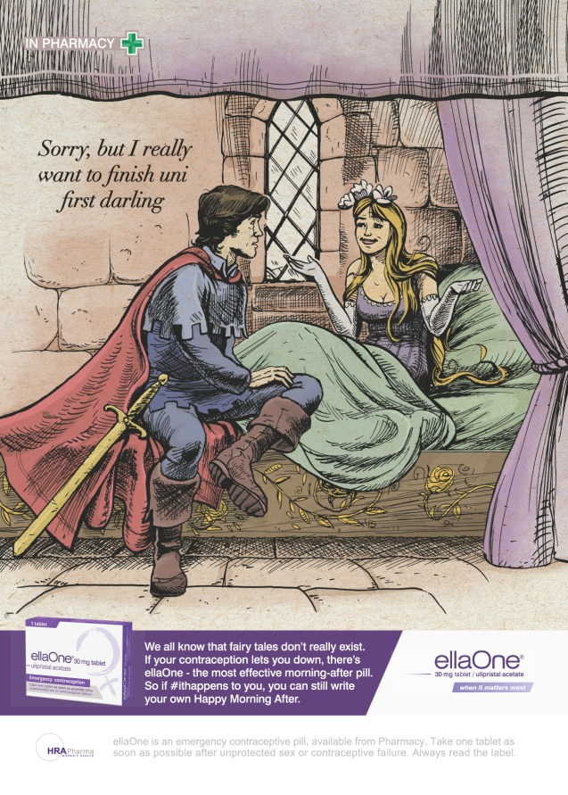 Prince Charming is refused by Sleeping Beauty. Illustration.