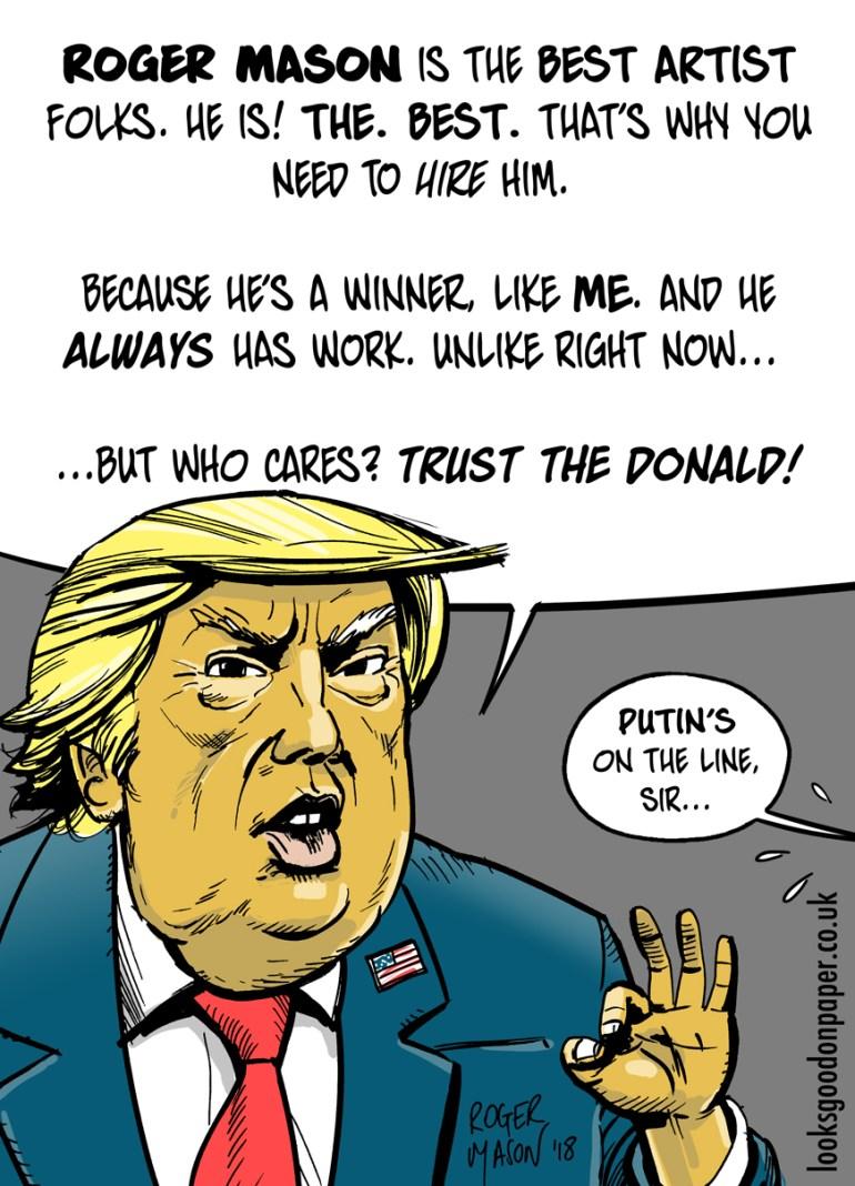 Donald Trump promotional cartoon by Roger Mason