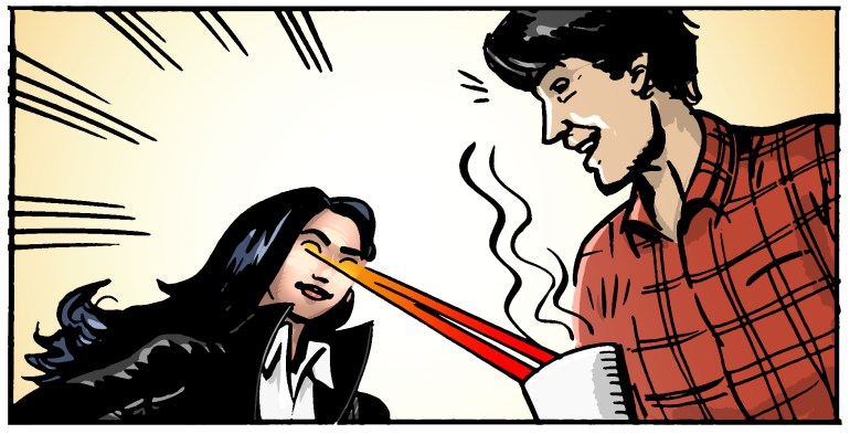 A superhero heats up a man's coffee with laserbeam eyes. Storyboard.