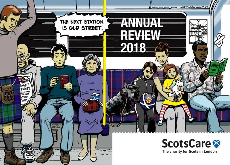 Illustration for ScotsCare's Annual Review publication by Roger Mason.