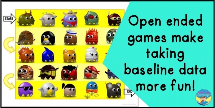 open ended games, baseline data, speech therapy