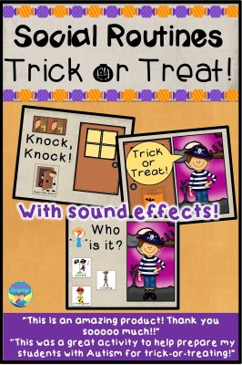 Playing trick or treat on the iPad is great for teletherapy!