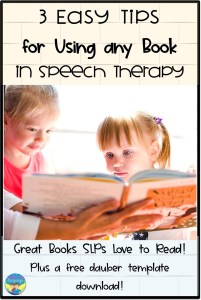 books, literacy, tips, speech therapy, printable, dauber