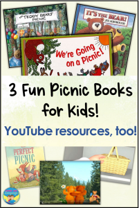 picnic themed books, YouTube links, speech therapy