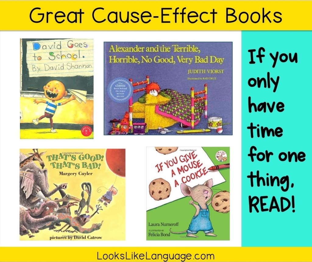 cause-effect books, reading to children, speech therapy