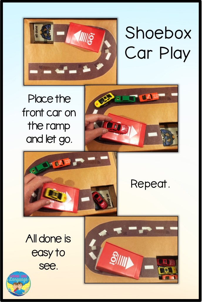 shoebox play, autism, cars, speech therapy, special educations