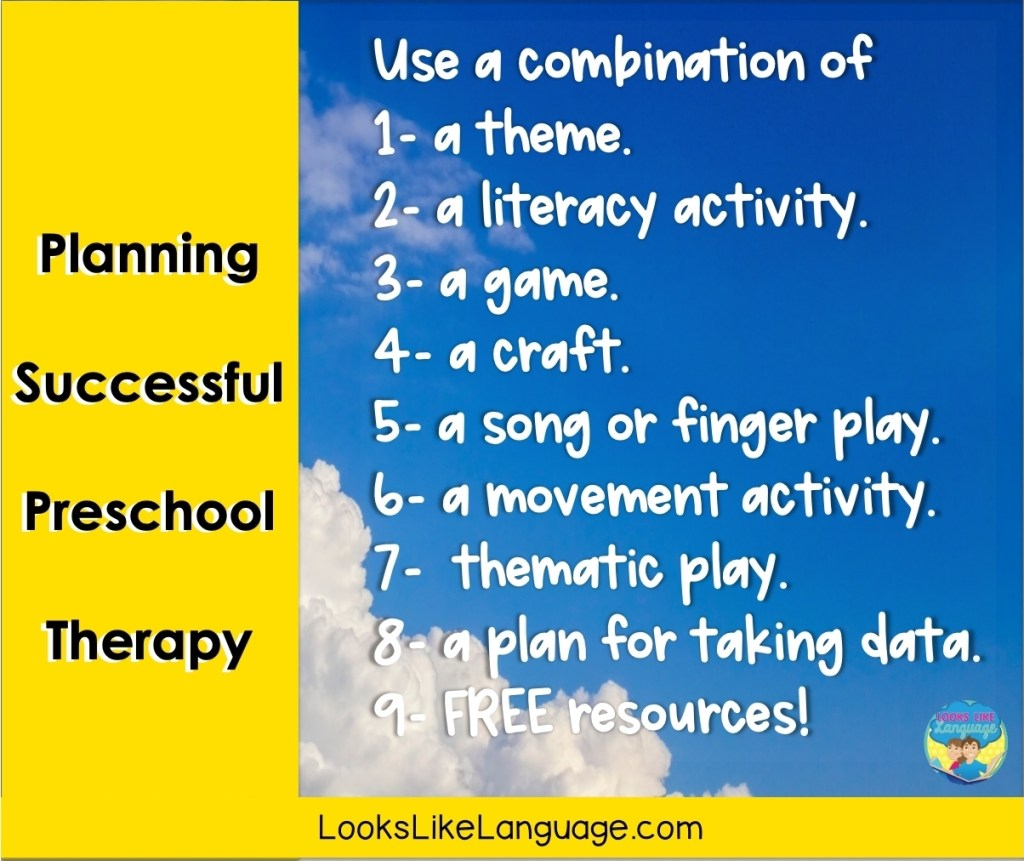 planning for preschool speech therapy