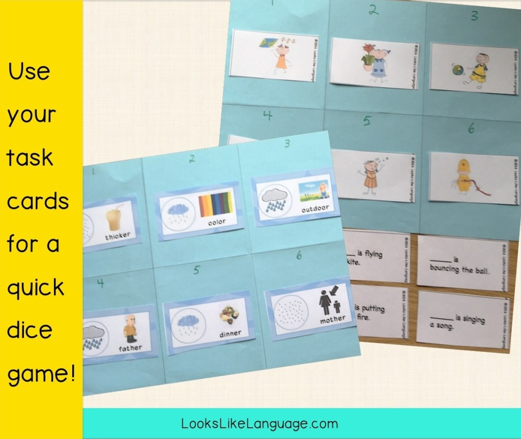 picture cards and dice in speech-language therapy