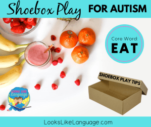 shoebox play. AAC core word 'eat', speech therapy, autism, free download
