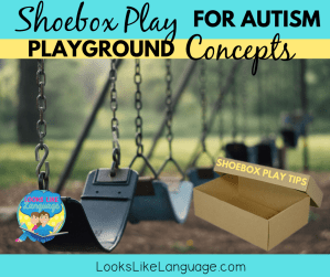 shoebox play skills, autism, speech therapy