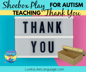 Use shoebox play to teach social skills: responding thank you, autism, speech therapy