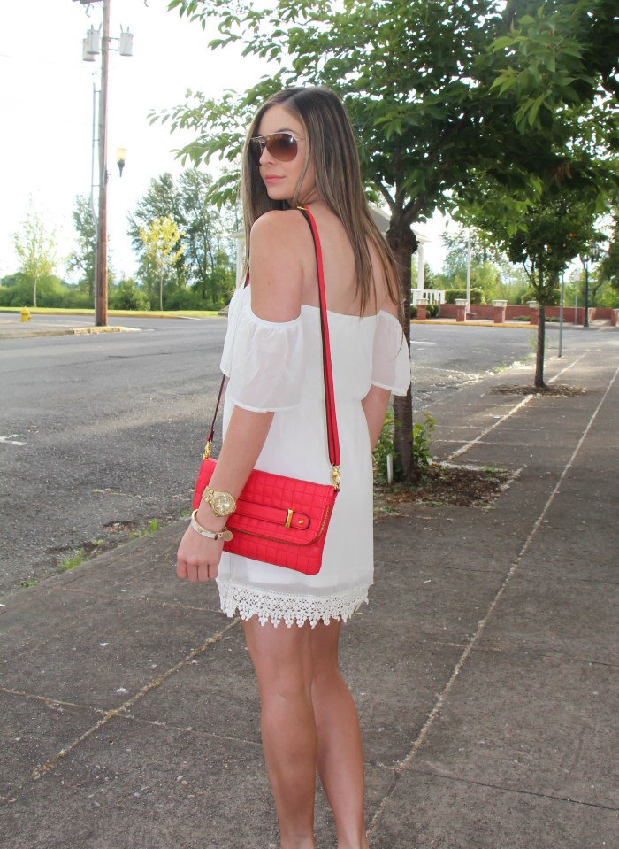 strapless crochet trim dress