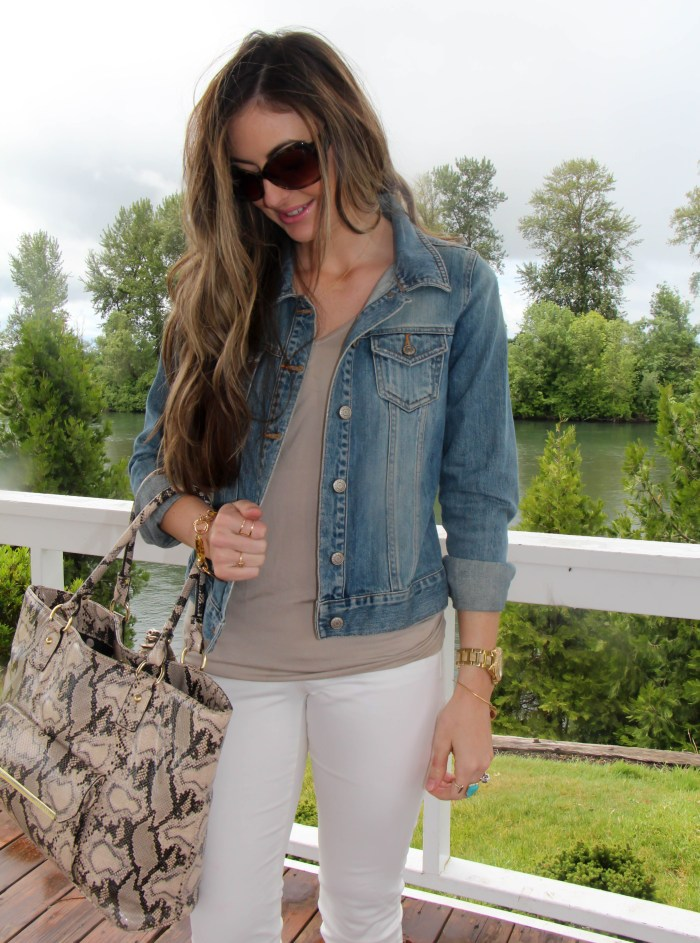Casual Chic white pants and jean jacket with steve madden booties