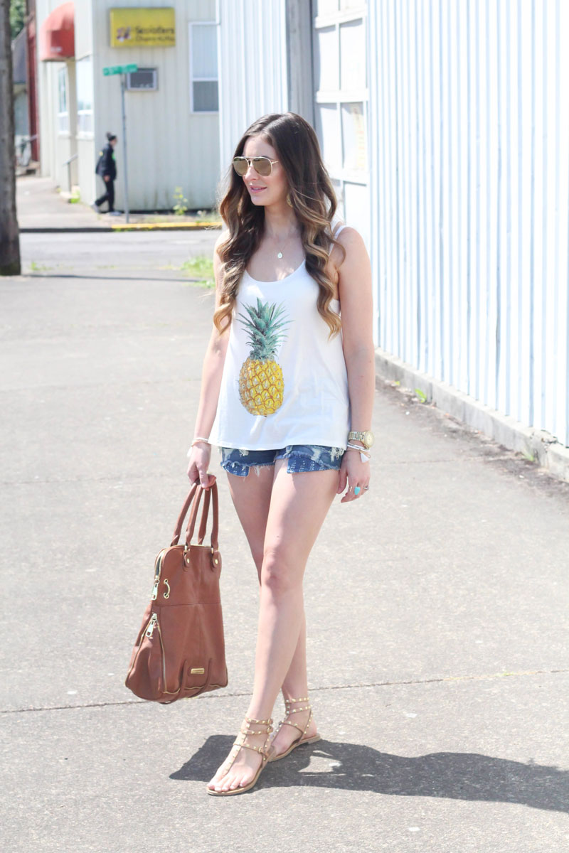 Jersey Pineapple Print Tank Top-White by Fashion Junkee