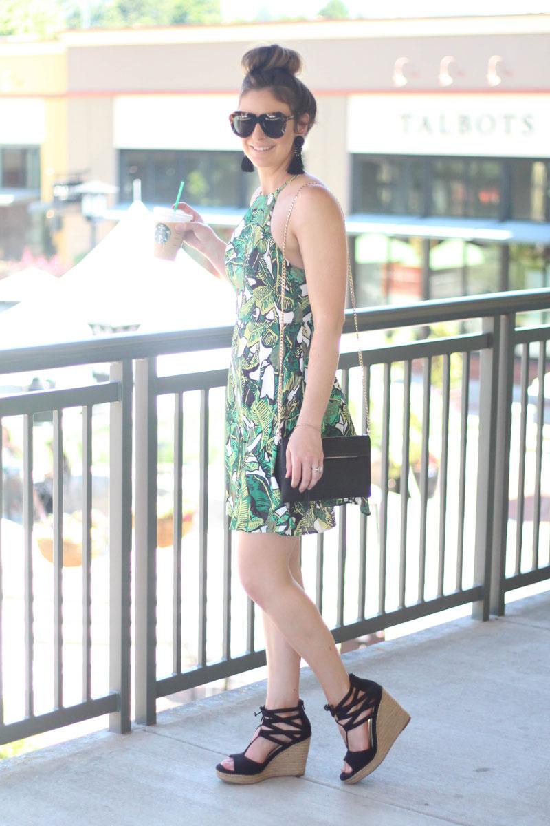 Shein Palm Leaf Print Dress